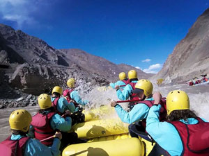 River rafting down the Zanskar River.