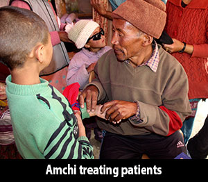Amchi treating patients