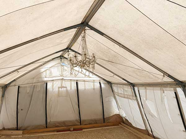 yoga tent for refugees
