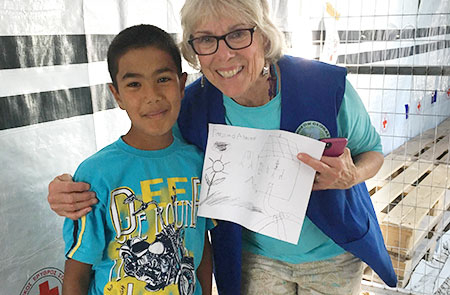 Karen with young refugee