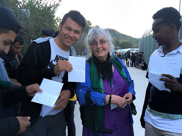Valerie with Refugees