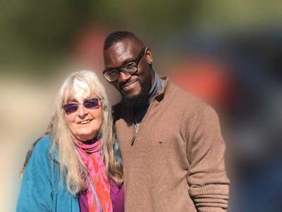 Valerie with refugee
