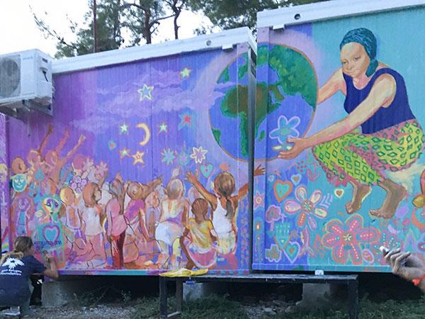 Moria Camp Mural